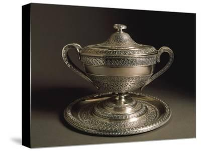 Punched Silver Tureen with Tray, Volute-Shaped Handles and Cover, 1849--Stretched Canvas Print