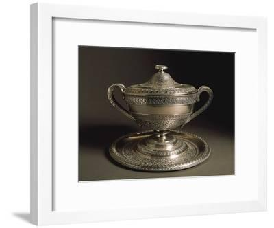 Punched Silver Tureen with Tray, Volute-Shaped Handles and Cover, 1849--Framed Giclee Print