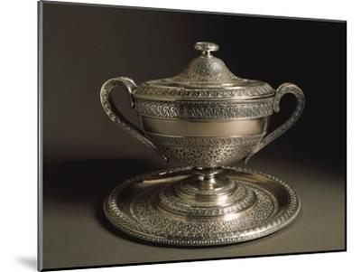 Punched Silver Tureen with Tray, Volute-Shaped Handles and Cover, 1849--Mounted Giclee Print