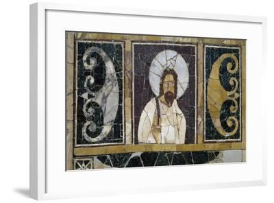 Inlaid Marble Depicting Face of Christ, Artifact from Rome, Italy, Early Christian Period--Framed Giclee Print