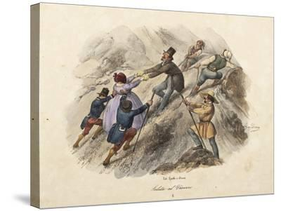 The Climb to Mount Vesuvius, Lithograph by Gatti and Dura--Stretched Canvas Print
