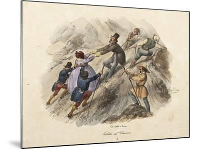 The Climb to Mount Vesuvius, Lithograph by Gatti and Dura--Mounted Giclee Print