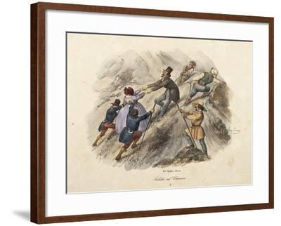 The Climb to Mount Vesuvius, Lithograph by Gatti and Dura--Framed Giclee Print