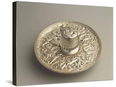 Sheffield Plate Inkpot with Decoration Depicting the Rape of the Sabines, 1900s--Stretched Canvas Print