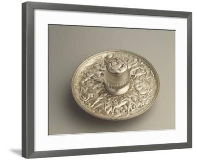Sheffield Plate Inkpot with Decoration Depicting the Rape of the Sabines, 1900s--Framed Giclee Print