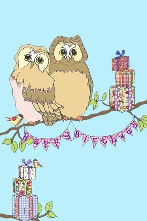 Birthday Owls, 2013-Anna Platts-Stretched Canvas Print