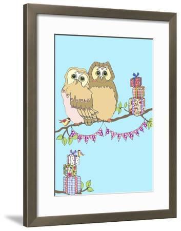Birthday Owls, 2013-Anna Platts-Framed Giclee Print