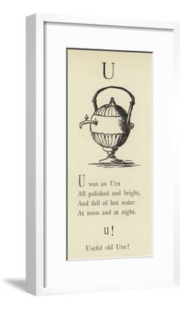 The Letter U-Edward Lear-Framed Giclee Print