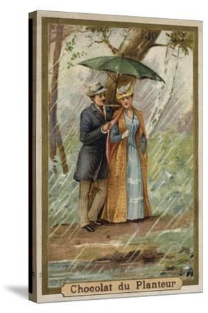 A Walk on a Rainy Day--Stretched Canvas Print