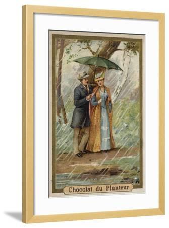 A Walk on a Rainy Day--Framed Giclee Print