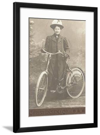Woman with a Bicycle--Framed Photographic Print