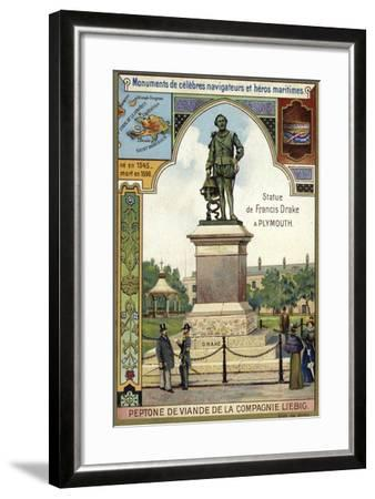 Statue of Sir Francis Drake, Plymouth--Framed Giclee Print