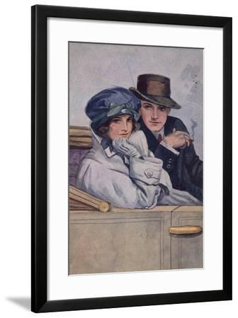 Couple Sitting in a Car--Framed Giclee Print