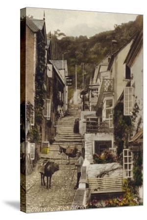 High Street, Clovelly, Devon--Stretched Canvas Print