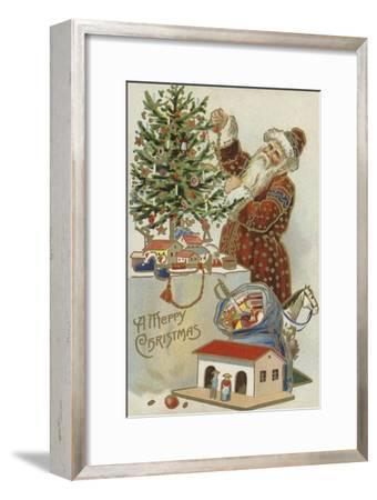 Father Christmas Decorating a Christmas Tree--Framed Premium Giclee Print