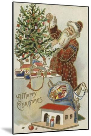 Father Christmas Decorating a Christmas Tree--Mounted Premium Giclee Print
