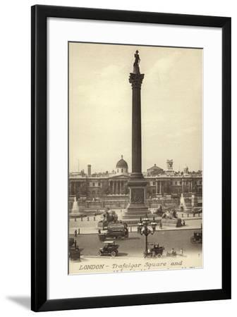 London, Trafalgar Square and Nelson's Monument--Framed Photographic Print