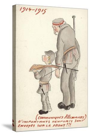 Young and Old German Soldiers Looking Forlorn--Stretched Canvas Print