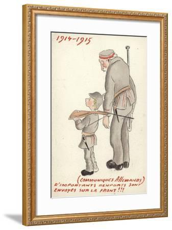 Young and Old German Soldiers Looking Forlorn--Framed Giclee Print