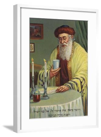 Man Reading and Holding a Cup--Framed Giclee Print