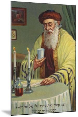 Man Reading and Holding a Cup--Mounted Giclee Print