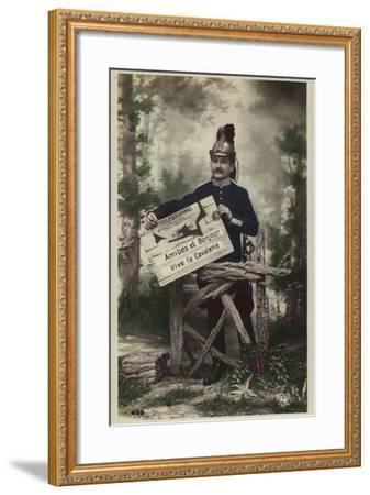 French Soldier, Holding Telegram--Framed Photographic Print