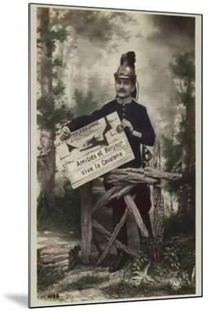 French Soldier, Holding Telegram--Mounted Photographic Print