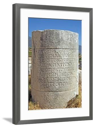 Inscribed Stone, Xanthos, Turkey--Framed Photographic Print