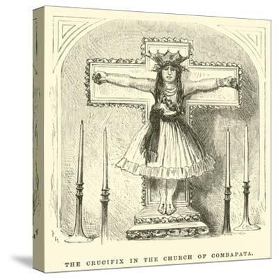 The Crucifix in the Church of Combapata-?douard Riou-Stretched Canvas Print