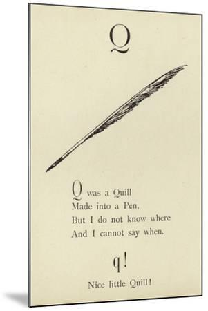 The Letter Q-Edward Lear-Mounted Giclee Print