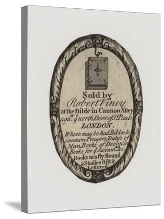Booksellers, Robert Viney, Trade Card and Label--Stretched Canvas Print