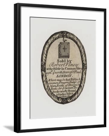 Booksellers, Robert Viney, Trade Card and Label--Framed Giclee Print