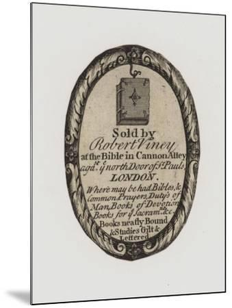 Booksellers, Robert Viney, Trade Card and Label--Mounted Giclee Print