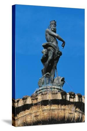 Statue of Neptune on Top of Fountain of Neptune--Stretched Canvas Print