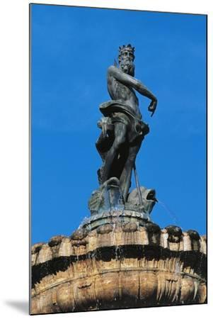 Statue of Neptune on Top of Fountain of Neptune--Mounted Giclee Print