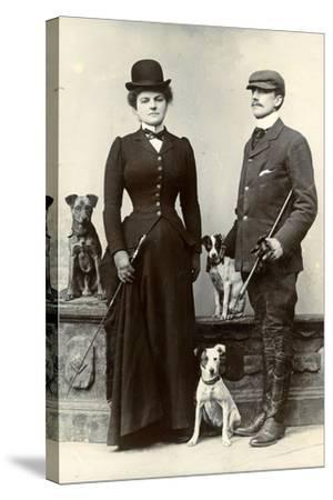 Portrait of a Couple with Dogs--Stretched Canvas Print