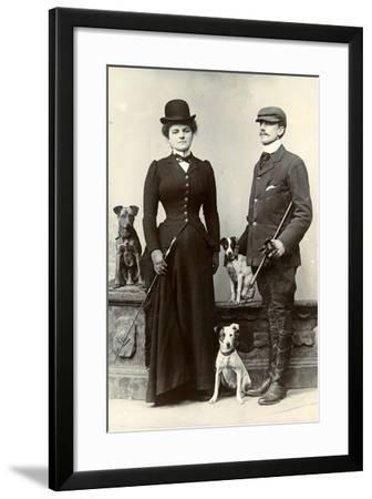 Portrait of a Couple with Dogs--Framed Photographic Print