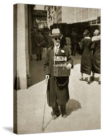 Blind Man Begging, New York, 1933--Stretched Canvas Print