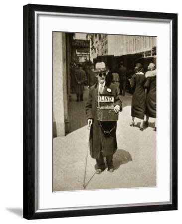 Blind Man Begging, New York, 1933--Framed Photographic Print