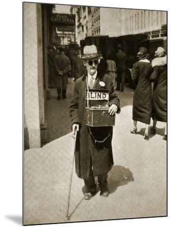 Blind Man Begging, New York, 1933--Mounted Photographic Print