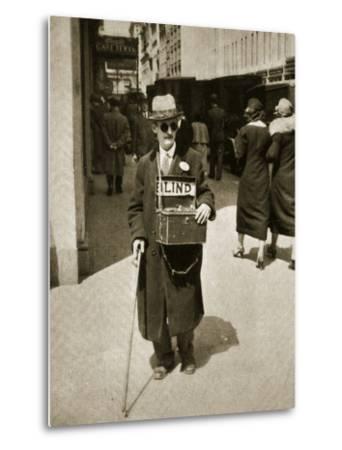 Blind Man Begging, New York, 1933--Metal Print