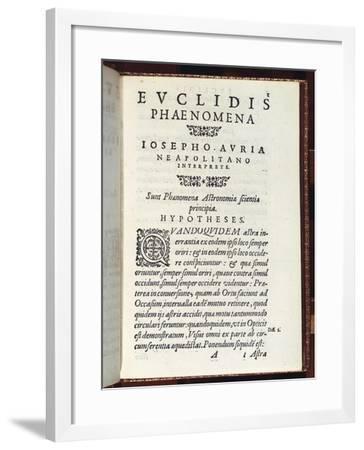 Title Page of Phaenomena- Euclid-Framed Giclee Print