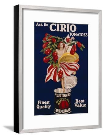 Poster Advertising Cirio Tomatoes, C.1920--Framed Giclee Print