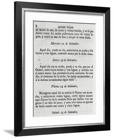 Logbook of First Voyage of Christopher Columbus--Framed Giclee Print