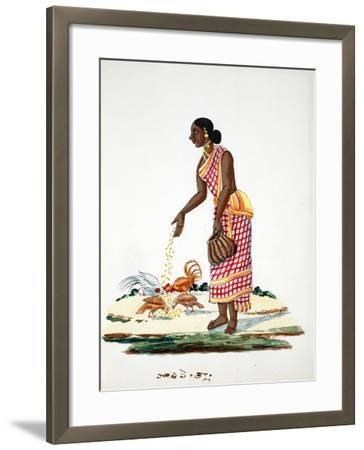 Woman Feeding Chickens--Framed Giclee Print