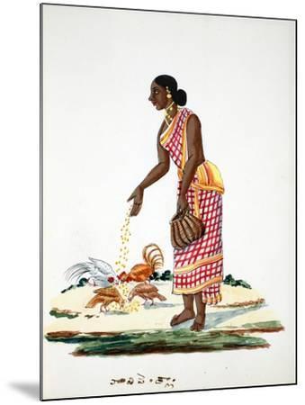 Woman Feeding Chickens--Mounted Giclee Print