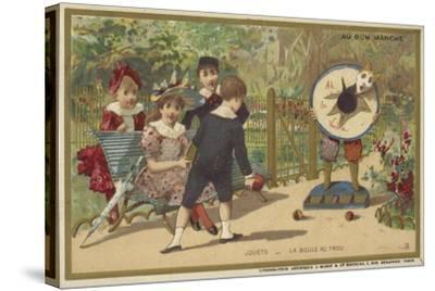 Au Bon Marche Cards Featuring Children's Games--Stretched Canvas Print