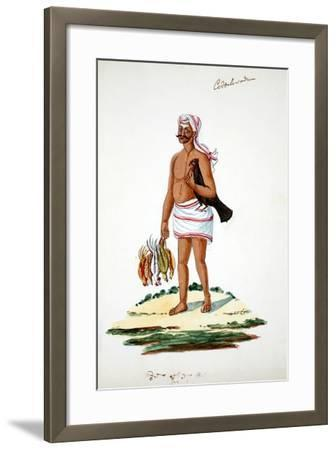 Farmer with Chickens--Framed Giclee Print