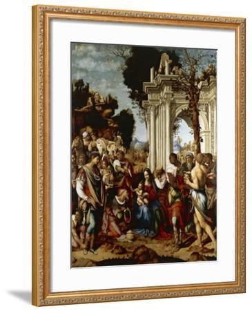 Adoration of Magi-Cesare da Sesto-Framed Giclee Print