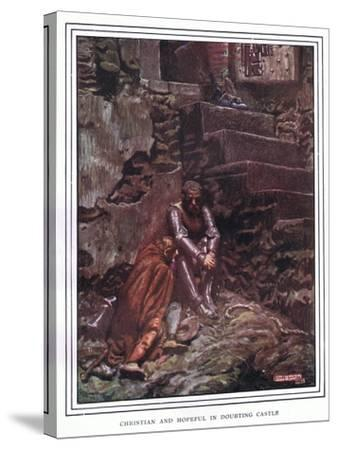 Christian and Hopeful in Doubting Castle-John Byam Liston Shaw-Stretched Canvas Print